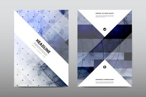 Magazine booklet cover with blue abstract design
