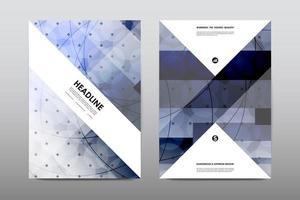 Tijdschriftboekomslag met blauw abstract ontwerp