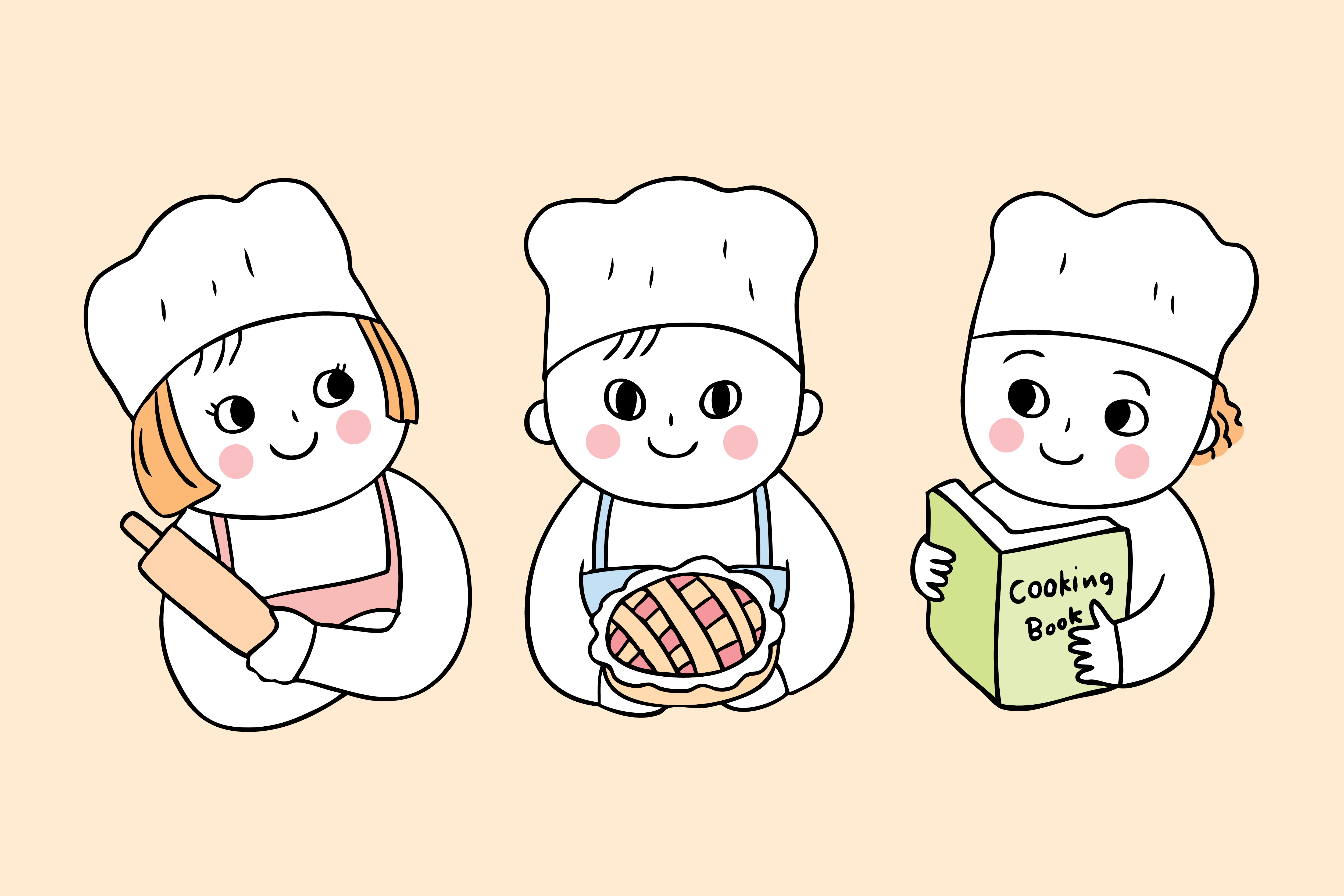 Cartoon Cute Back To School Cooking Class With Three Students Download Free Vectors Clipart Graphics Vector Art