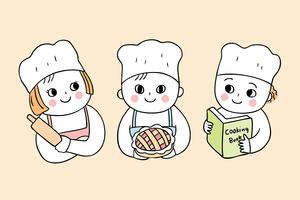 Cartoon cute back to school cooking class with three students