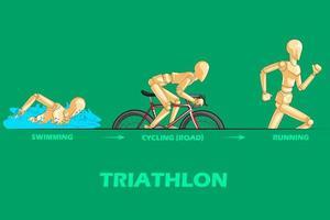 Conceito de esportes de triatlo com manequim humano de madeira