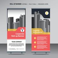 roll up design template for corporate business with city background