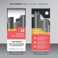 Roll-up-Design-Vorlage für Grossunternehmen mit Stadt Hintergrund