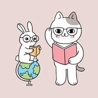 back to school cat and rabbit reading book
