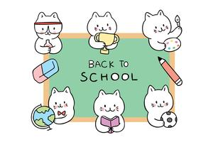 Cartoon cute back to school cats around chalkboard