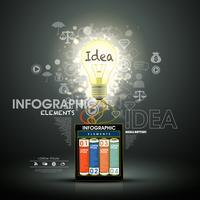 Infografía creativa moderna con bombilla y baterías