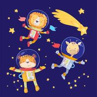 Cartoon cute animals lion tiger and giraffe astronauts in space