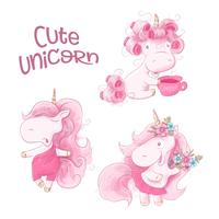 Cute Cartoon Unicorn en un fondo de acuarela