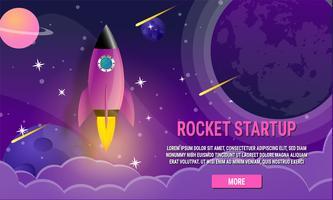 Startup business rocket ship concept