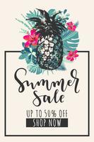 Banner de venta de verano. Diseño tropical con piña, hojas de monstera y flores de hibisco.