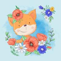 Dessin animé mignon renard dans une couronne de coquelicots rouges et bleuets, fleurs sauvages