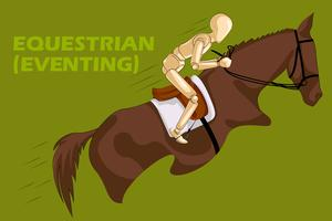 Concept of Eventing Equestrian with wooden human mannequin