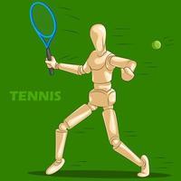 Concetto di sport del tennis con manichino umano in legno