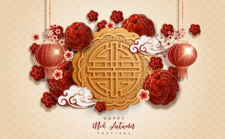 Chinese mid autumn festival bege background vector