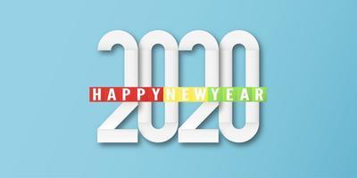 Feliz ano novo 2020, ano do rato, em corte de papel e estilo artesanal