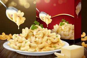 Macaroni with cheese sauce on wooden table