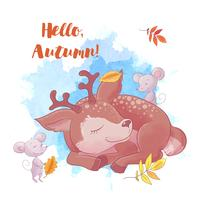 Cute cartoon deer is sleeping with autumn and leaves.