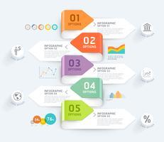 Infographic Elementschablone des Geschäfts mit 5 Schritten auf gefalteten Pfeilfahnen