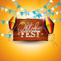 Ilustración de banner de Oktoberfest con letras de tipografía en tablero de madera vintage