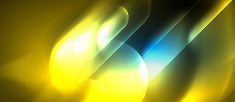Fondo techno di forme rotonde al neon blu e giallo