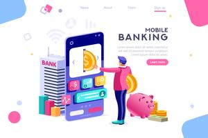 Man banking and holding coin on smartphone