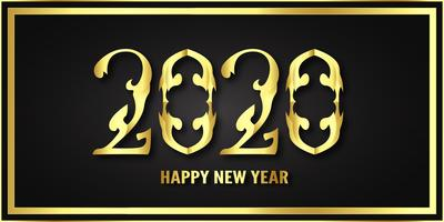 Happy new year 2020, year of the rat in metallic paper cut and craft style