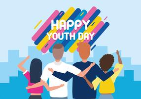 Happy youth day poster with back view of  group of friends waving  vector