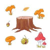 Tocón de bosque dibujado a mano, setas y bayas y hojas de otoño.