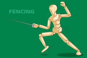 Concept of Fencing with wooden human mannequin