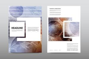 Couverture de livret magazine avec des branches et des carrés