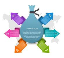 Abstrakt mall för infographics för affärsalternativ i form av pengarpåse.