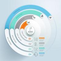 Infografía circular de negocios con 4 pasos y plantilla de elementos de icono