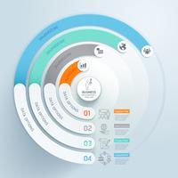 Infográfico circular de negócios com 4 etapas e modelo de elementos de ícone