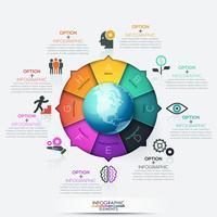 Infografía circular moderna con 8 pasos A a H