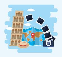 Leaning tower of pisa with camera and world map