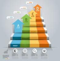 Business pil AD steg trappuppgång infographics