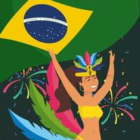 Female carnival dancer in costume with brazilian flag