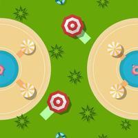 Design de padrão para a temporada de verão com grama, piscinas e guarda-chuvas. Vista do topo.