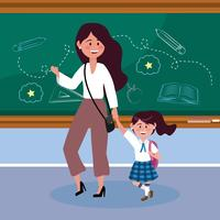 Mother with daughter in classroom at school  vector