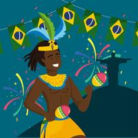 Male carnival musician with maracas and christ redeemer statue  vector