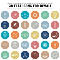 Bundle of icons in concept of Diwali, festival of light