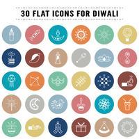 Paquete de iconos en concepto de Diwali, festival de la luz