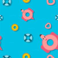 Pattern design for summer season with different pool floats. Top view.