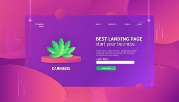 Elemento foglia di cannabis nel modello di landing page