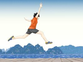 happy person jumping with water and mountains in background
