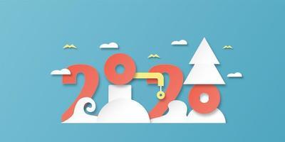 Feliz ano novo 2020, ano do rato em corte de papel e estilo artesanal com nuvens e pássaros