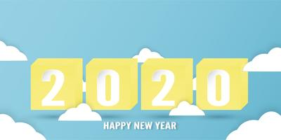 Happy new year 2020, year of the rat in paper cut and craft style surrounded by clouds