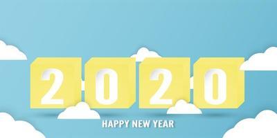 Feliz ano novo 2020, ano do rato em corte de papel e estilo artesanal cercado por nuvens