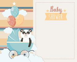 Baby shower card with panda in carriage with balloons