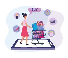 vrouw met winkelwagentje en tassen voor e-commerce technologie